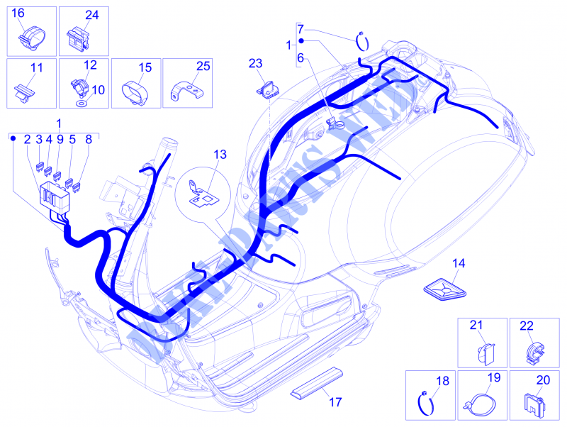main cable harness electrical system 2012 gts 300 vespa scooter rh parts piaggio com Motor Scooter Wiring Diagrams Razor E300 Scooter Wiring Diagram