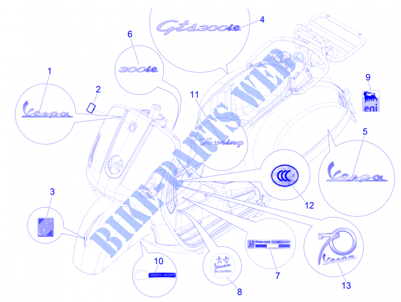 Plates   Emblems for VESPA Vespa GTS ie ABS 2014