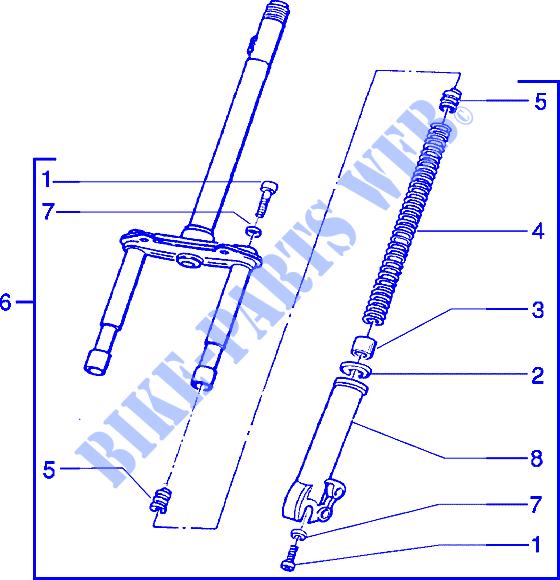 Fork For Piaggio Zip Elettrico Before 200   Piaggio Vespa